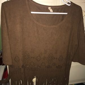 Brown tribal fringe top